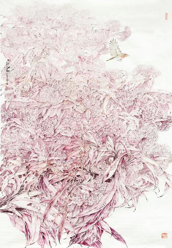 李采姣,吉冠神州,纸本没骨,200x132cm,2018年,入选第六届全国青年美展