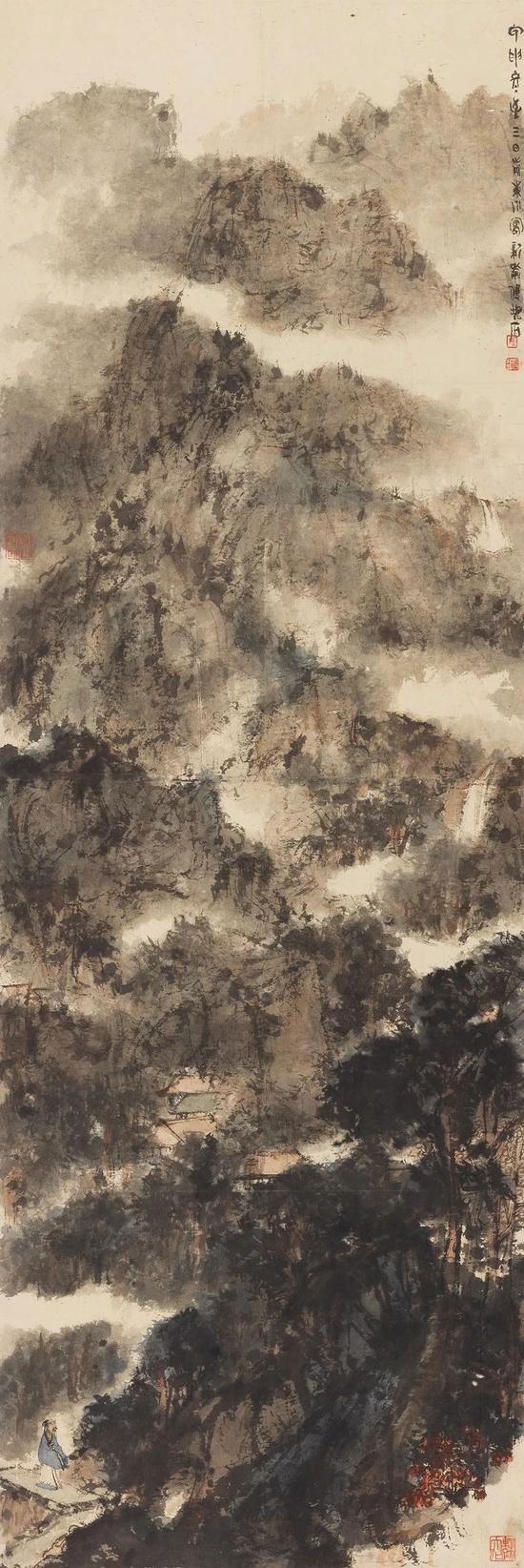傅抱石 横云秋霁设色纸本 立轴181×61 cm