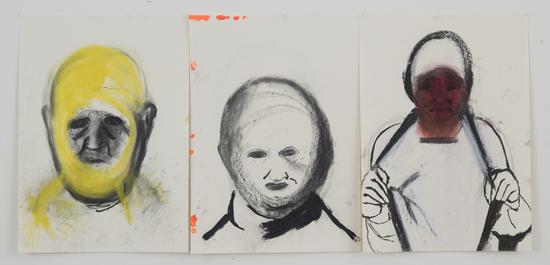 张萌,《画画的人》,纸本焦炭、色粉、丙烯,50x70cm, 50x70cm, 50x70cm,2017