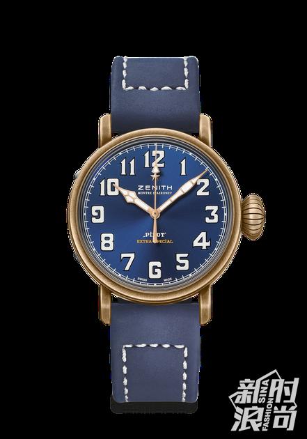 真力时飞行员系列 TYPE 20 特别版青铜腕表蓝色款,40毫米