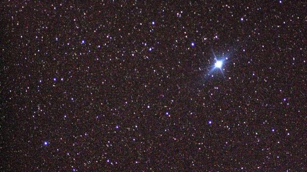 图为夜空中第二明亮的恒星——老人星(Canopus)。也许爆炸后的V Sagittae看上去也会这么明亮。