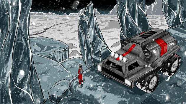 2、冥王星探險者沿著湯博地區右側行進之後再向東,最終到達一個漂浮在氮冰之上的觀測台,在這裡可以看到冥王星著名的冰脊地形。