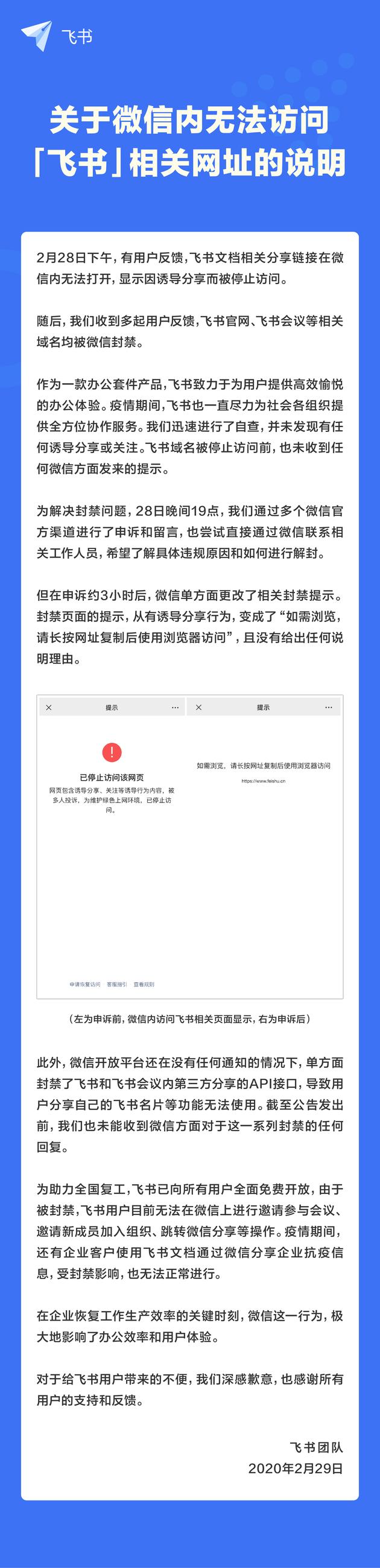 """微信封禁字节跳动飞书?目前""""feishu""""相关域名链接在微信内均无法打开"""